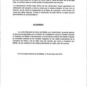 La Junta Electoral da la razón a C's y obliga a PP y CpM a retirar inmediatamente la propaganda electoral visible