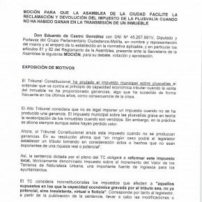 Ciudadanos registra una moción para que los contribuyentes puedan reclamar el impuesto de plusvalías