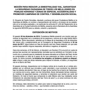 C's Melilla registra su tercera moción para mejorar la seguridad vial y ciudadana